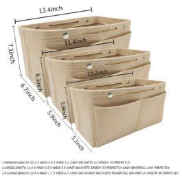 LEXSION Felt Fabric Purse Handbag Organizer Bag – MultiPocket Insert Bag 8008 Beige S