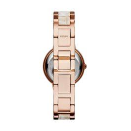 Fossil Women's Virginia Quartz Stainless Steel Horn Acetate Dress Watch, Rose Gold (Model: ES3716): Fossil: Watches