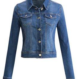 URBAN K Womens Long-Sleeve Distressed Button Up Denim Jean Jacket Regular & Plus Size