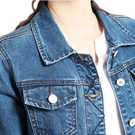 Sharewim Slim Women's Denim Jacket Blue Classic Ex Boyfriend Trucker Jacket Coat