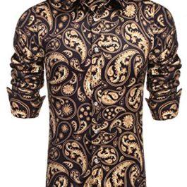 Daupanzees Mens Long Sleeve Fashion Luxury Design Dress Shirt